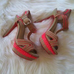 Gianni Bini Neon Orange and tan heels